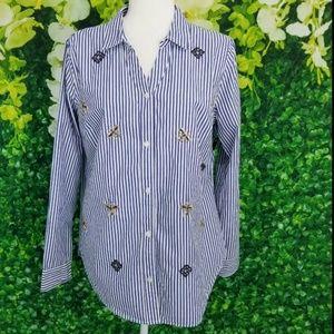 Crown Ivy PL L Petite Blouse Blue White Stripes